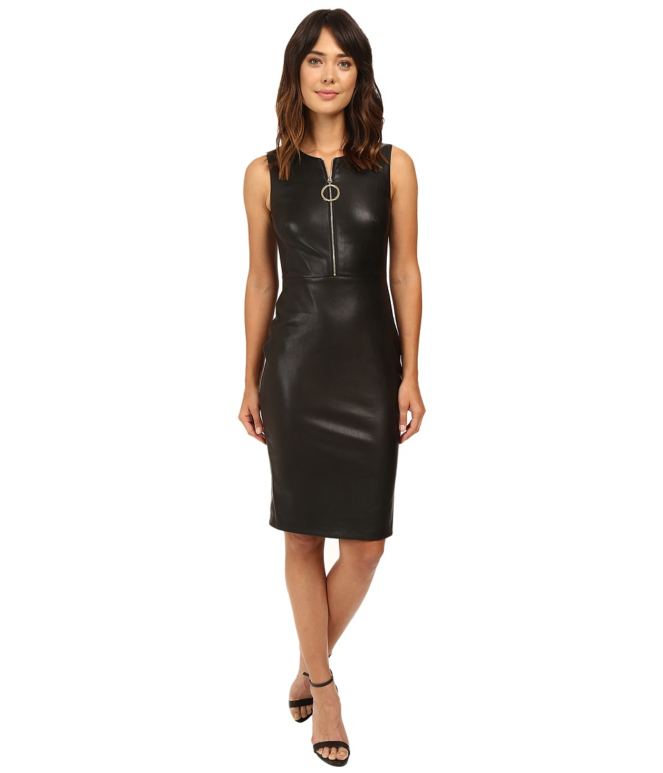 Calvin Klein PU Sheath with Zipper Detail CD6U1N8B Black Dress