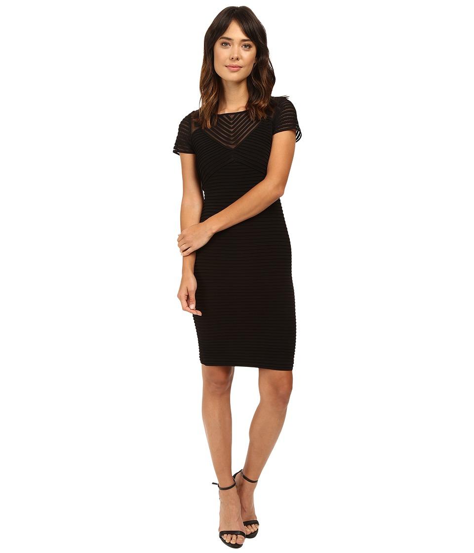 Calvin Klein - Short Sleeve Pin Tuck Dress CD6A1Q8C (Black) Women's Dress