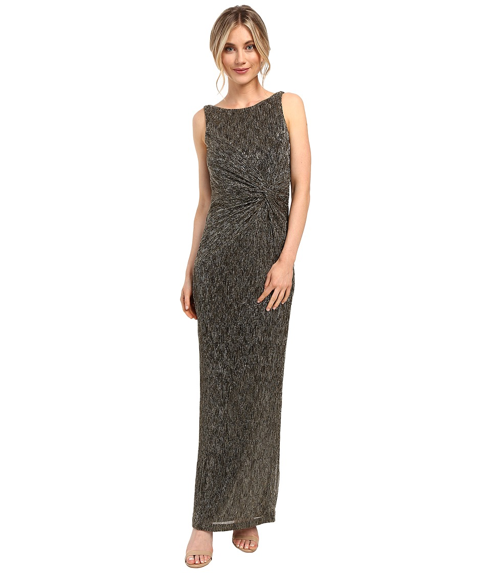 Calvin Klein - Twist Front Gown CD6B9M8V (Black/Gold) Women's Dress