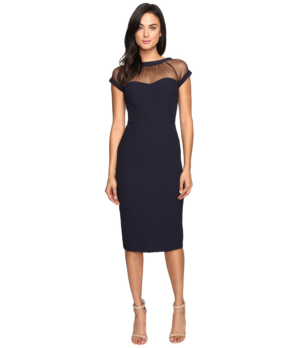 Maggy London - Crepe Jacquard Illusion Top Crepe Dress (Dark Navy) Women's Dress