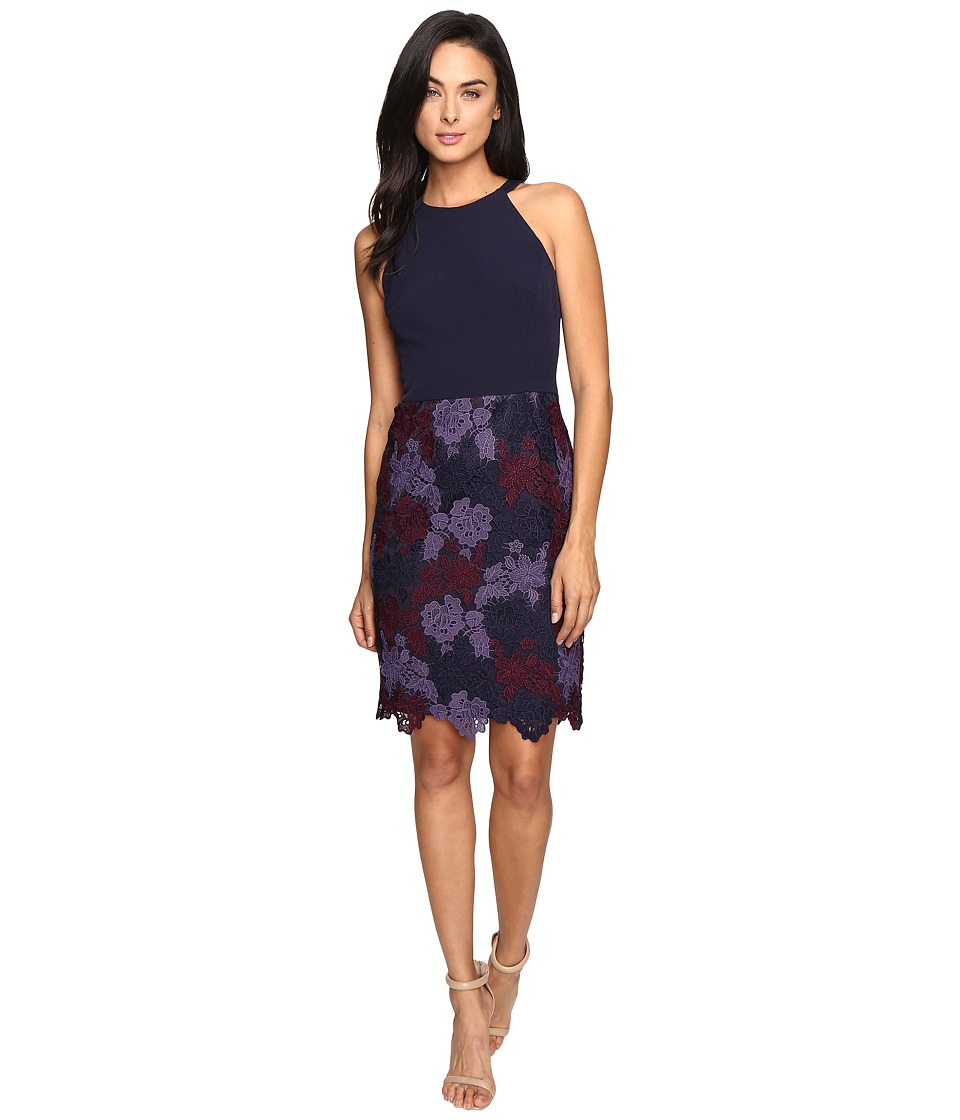 Maggy London - Tri-Tone Lace and Crepe Sheath (Navy/Burgundy) Women's Dress