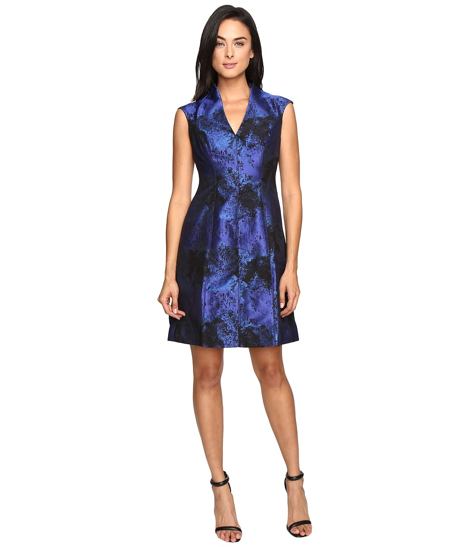 Maggy London Shadow Abstract Deep V-Neck Fit and Flare (Blue/Black) Women