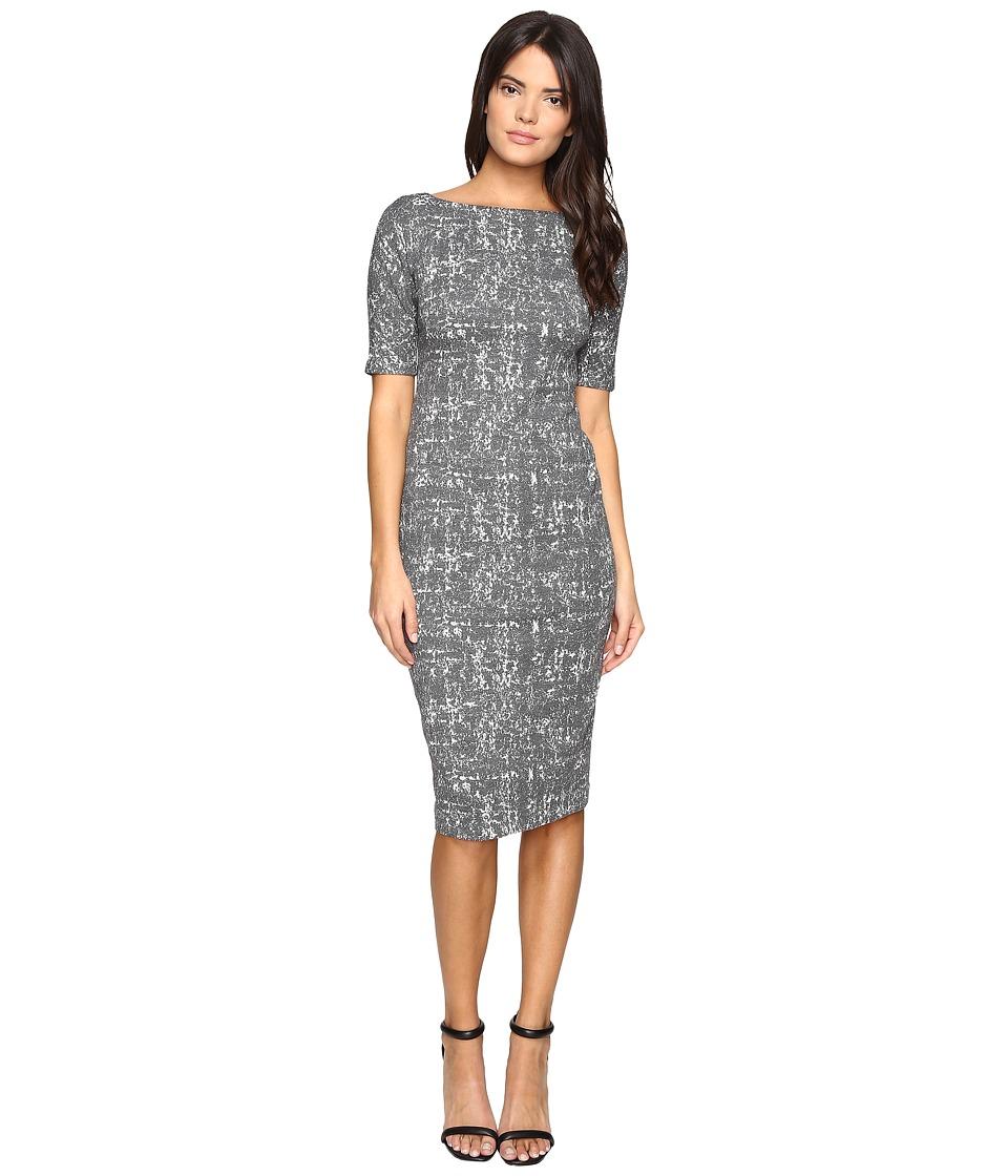 Maggy London - Abstract Texture Bateau Neck Sheath (Cream/Grey) Women's Dress