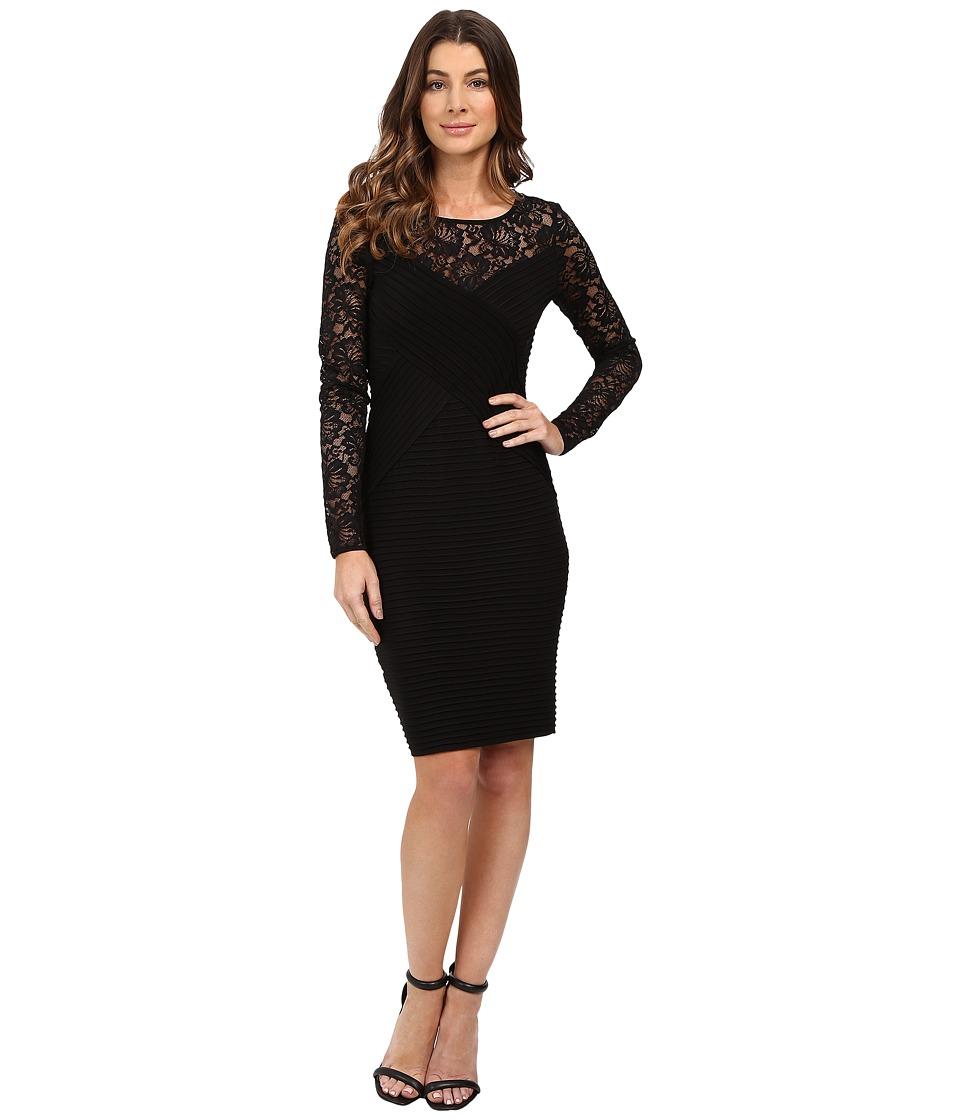 Calvin Klein Lace Sleeve Pin Tuck Dress CD6A1A46 (Black) Women