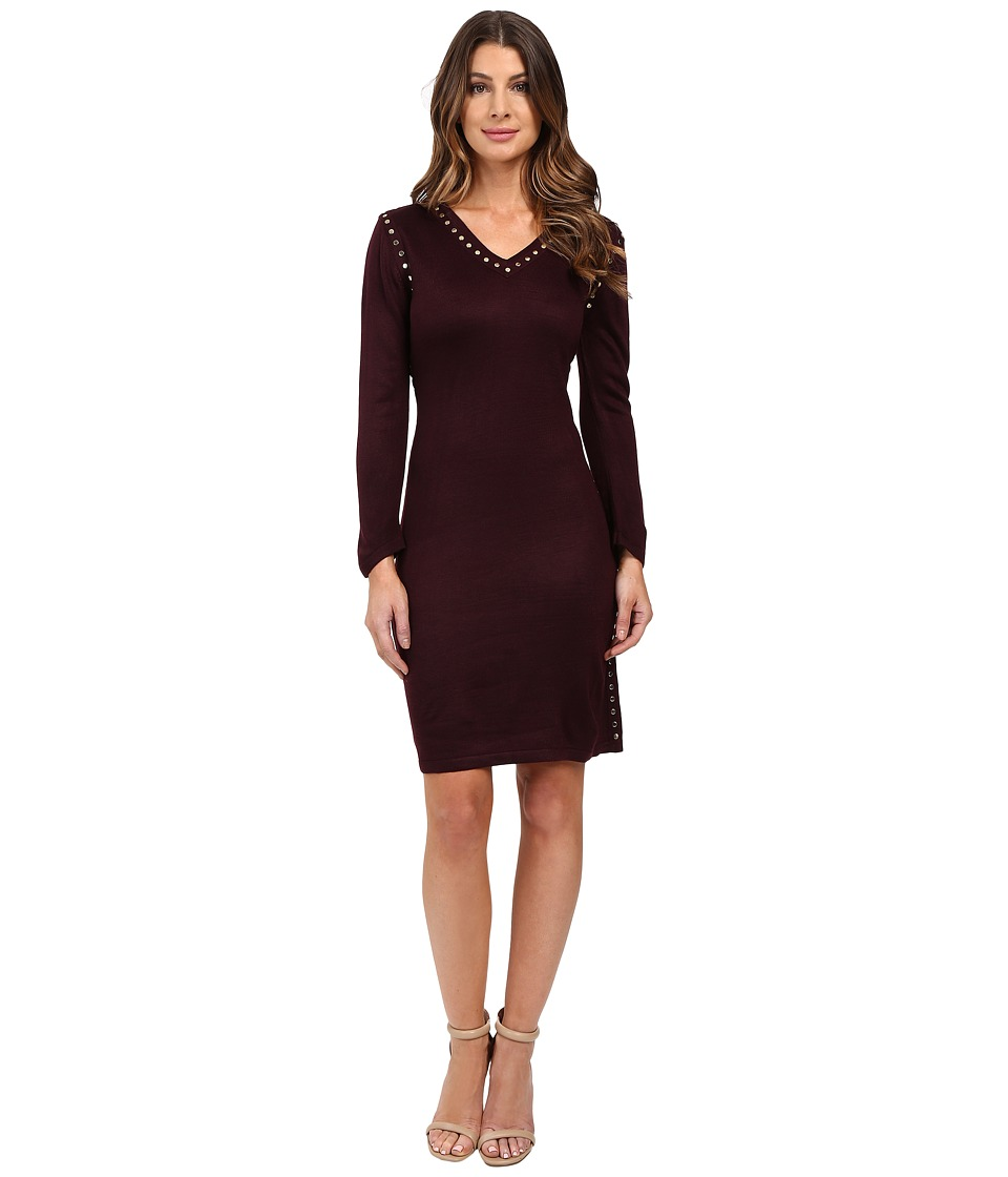 Calvin Klein - 3/4 Sleeve Sweaters with Hot Fix Detail CD6W1Y7Q (Aubergine) Women's Dress