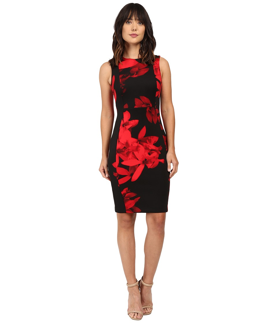 Calvin Klein - Floral Sheath CD6MGA00 (Red/Black) Women's Dress