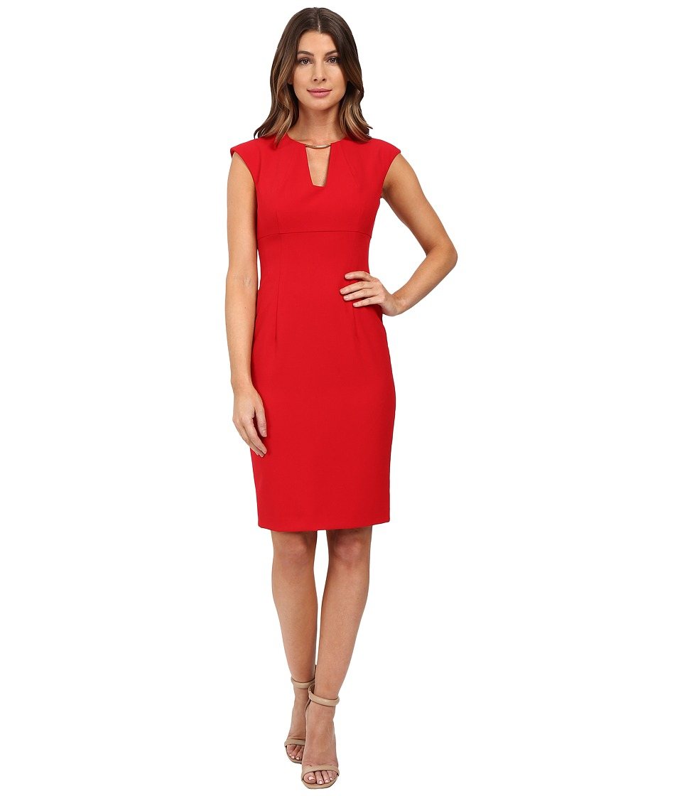 Calvin Klein - Cap Sleeve Sheath Dress CD6X1951 (Red) Women's Dress