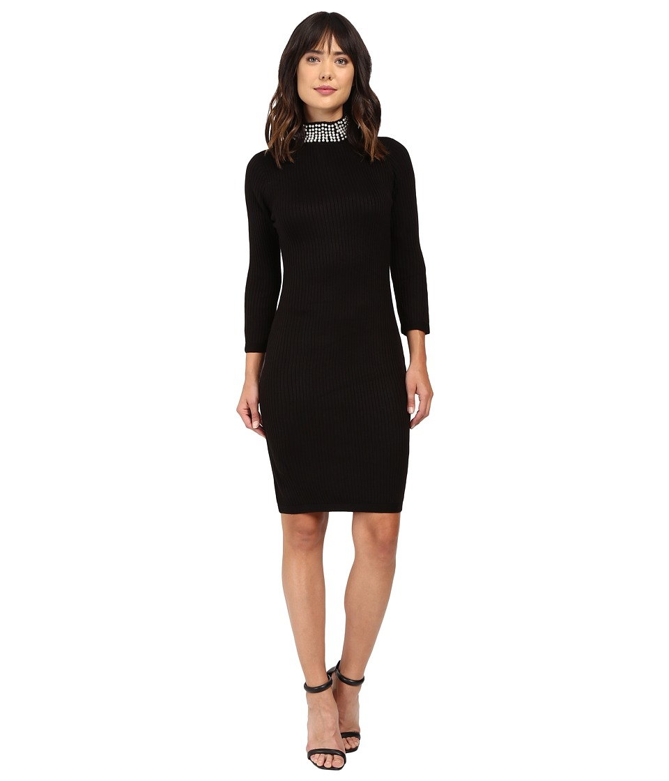 Calvin Klein Long Sleeve Sweater with Pearl Beading CD6W1Y7J (Black) Women