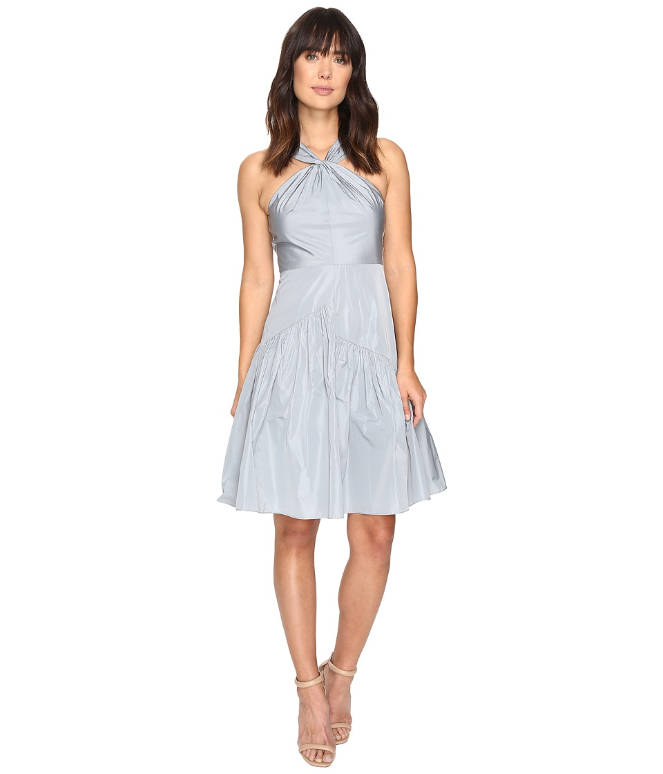 Rebecca Taylor Knot Neck Taffeta Dress (Glacier) Women