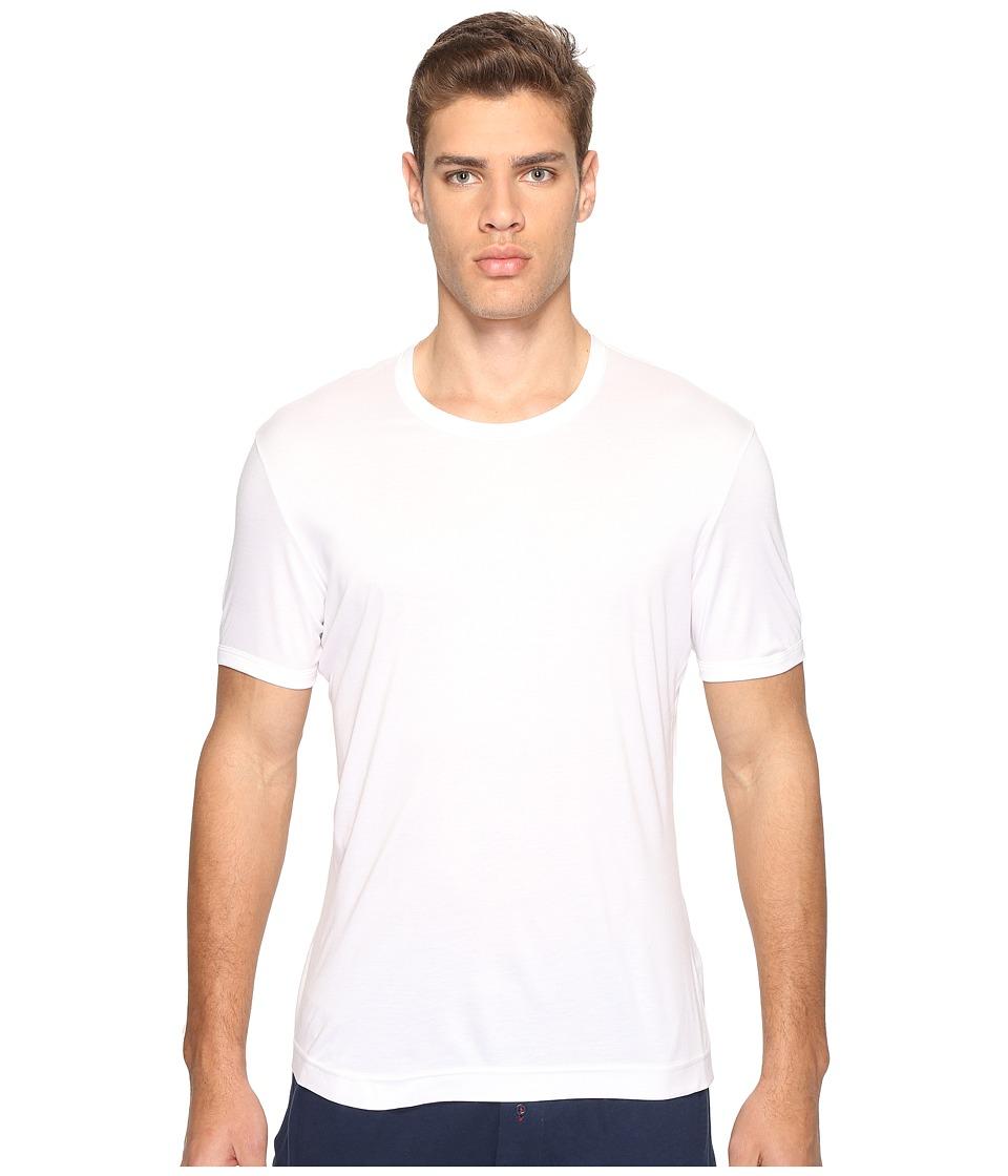 Dolce & Gabbana - Polka Dot Silk Modal Round Neck Tee (White) Men's T Shirt