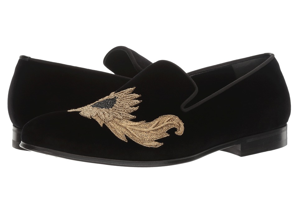 Alexander McQueen - Embroidered Evening Slipper (Black) Men's Slip on Shoes