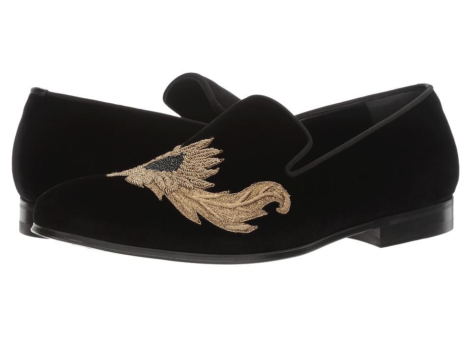 Alexander McQueen - Embroidered Evening Slipper (Black) Men's Slip on Shoes