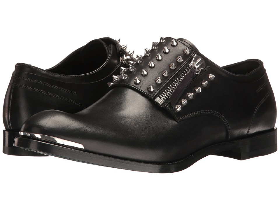 Alexander McQueen - Studded Zip Derby (Black) Men's Lace up casual Shoes