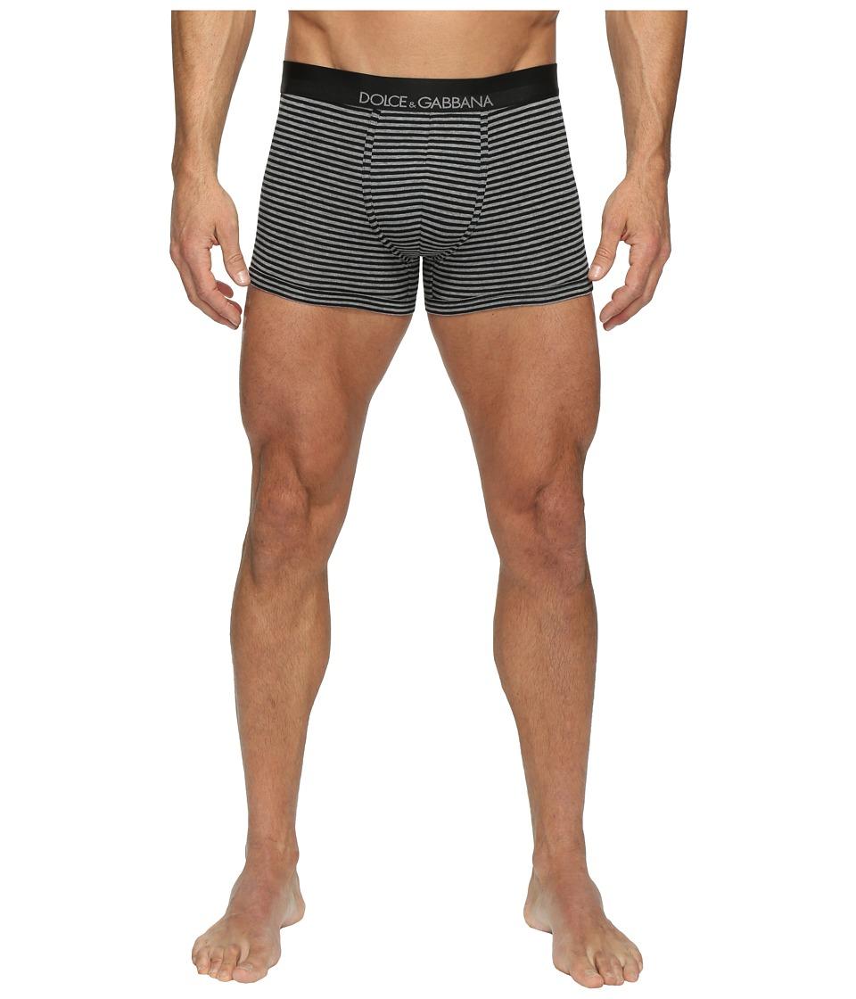 Dolce & Gabbana - Grey Stripes Stretch Cotton Regular Boxer (Dark Grey) Men's Underwear