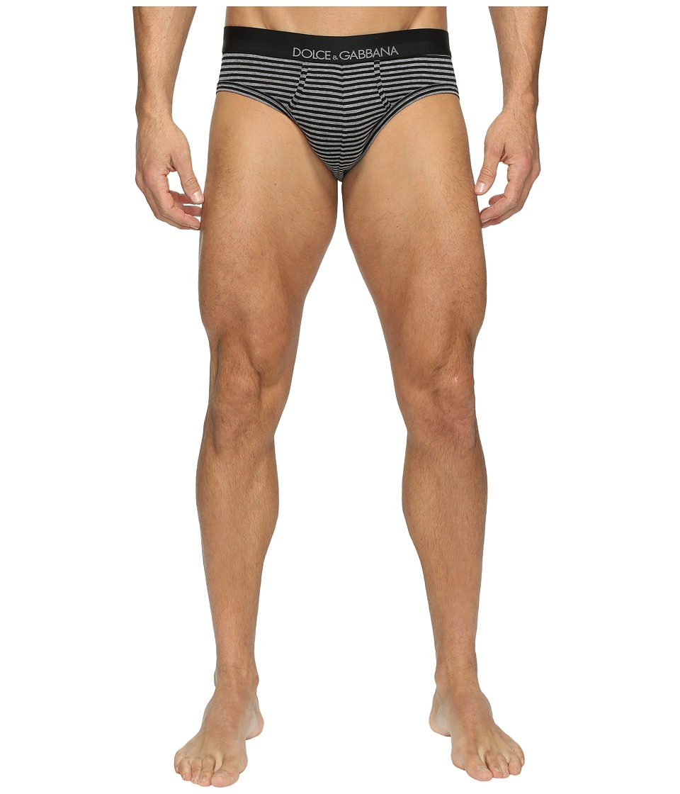 Dolce & Gabbana - Grey Stripes Stretch Cotton Midi Briefs (Dark Grey) Men's Underwear