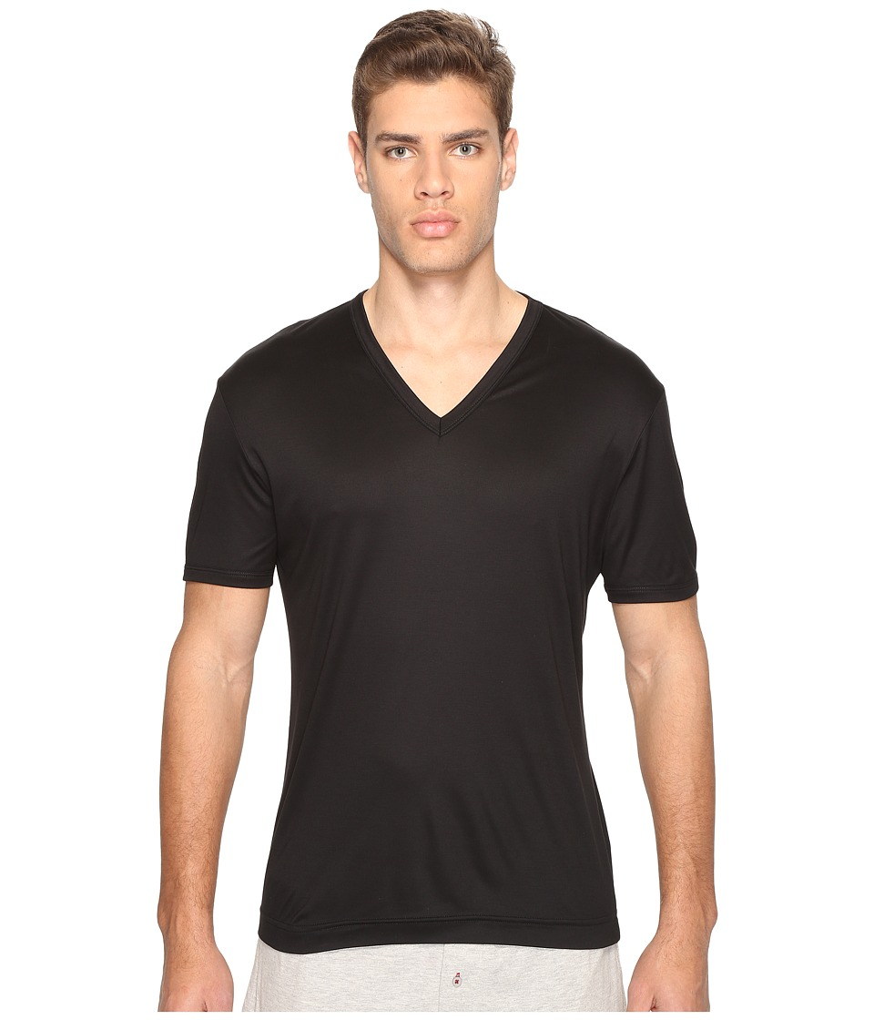 Dolce & Gabbana - Polka Dot Silk Modal V-Neck Tee (Black) Men's T Shirt