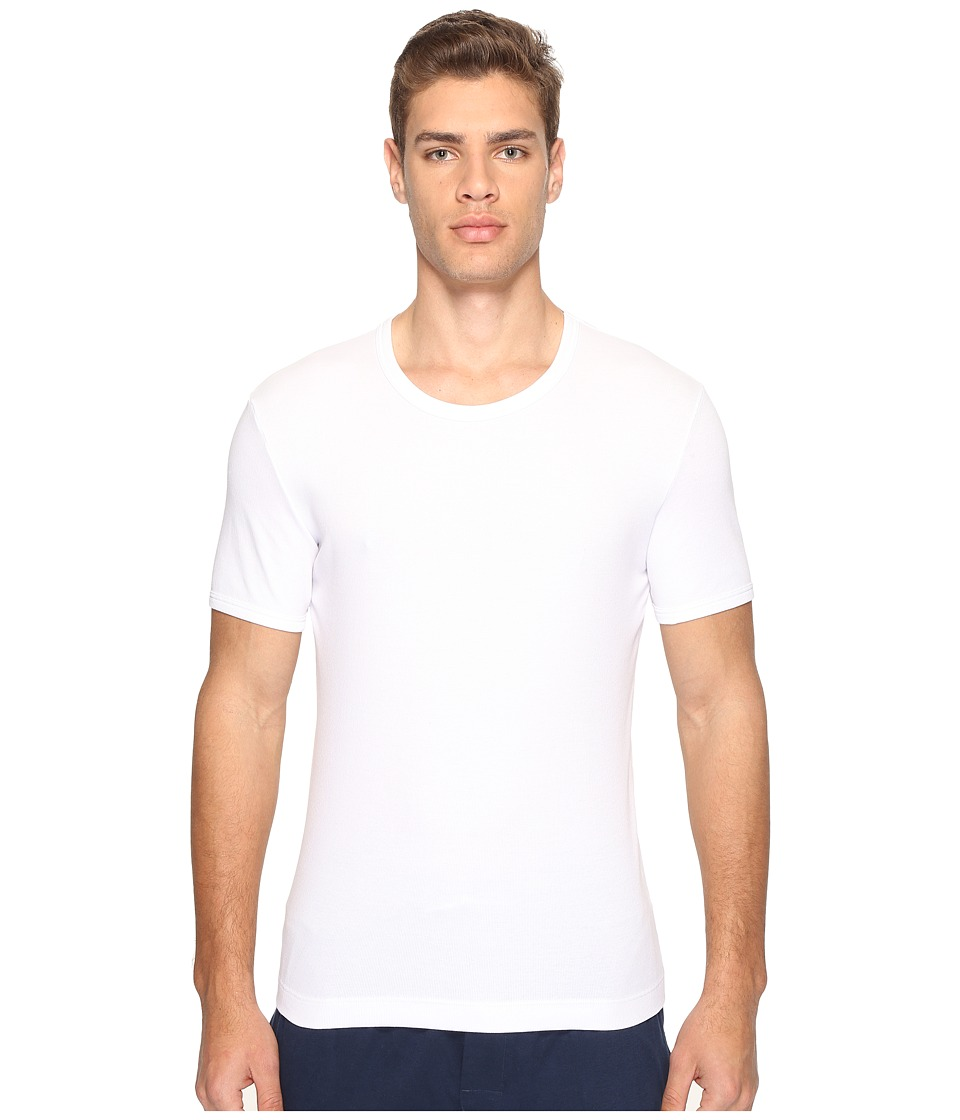 Dolce & Gabbana - Stretched Rib Cotton Round Neck Tee (White) Men's T Shirt