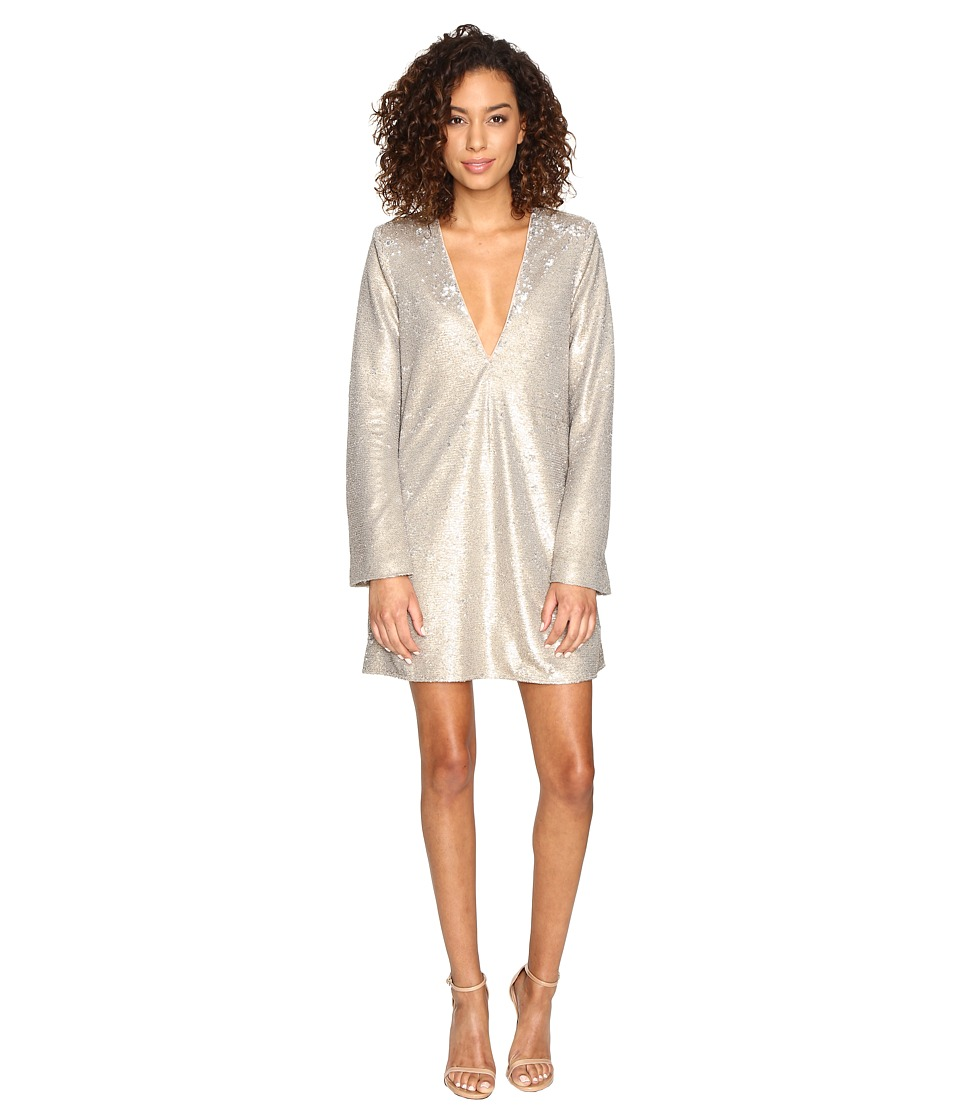 The Jetset Diaries - Gold Diamond Long Sleeve Dress (Gold Sequin) Women's Dress