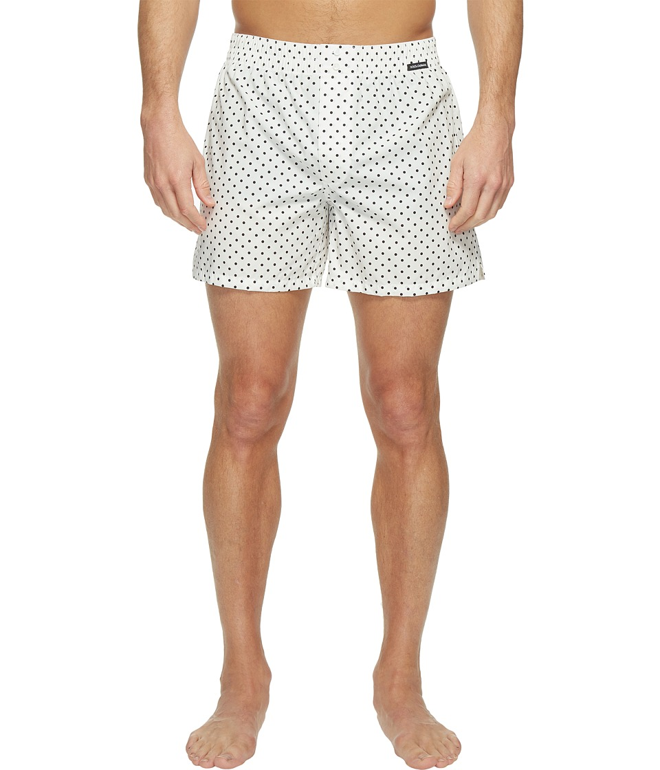 Dolce & Gabbana - Polka Dot Poplin Boxer Shorts (White) Men's Underwear