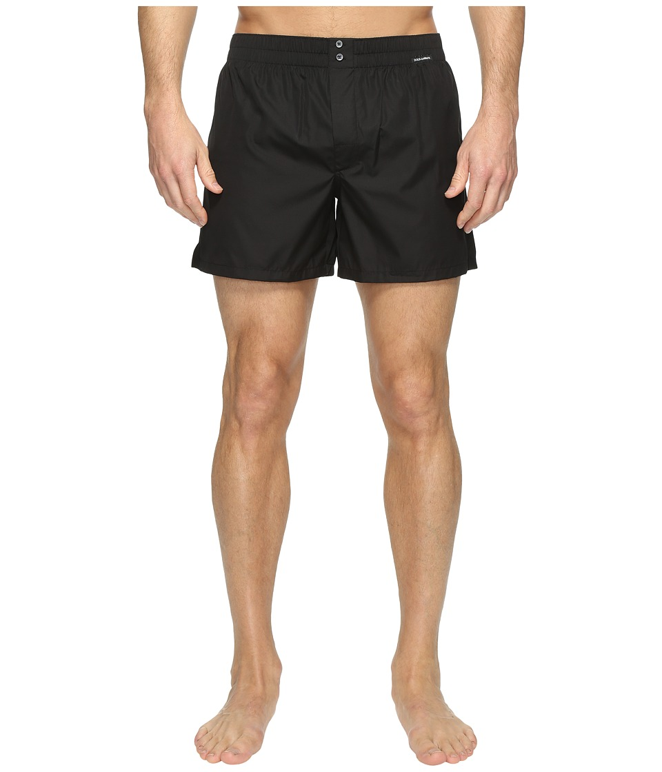 Dolce & Gabbana - Plain Poplin Boxer Shorts (Black) Men's Underwear