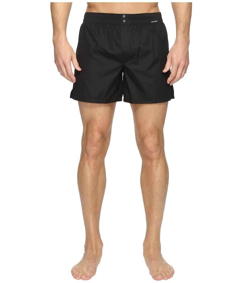 Dolce & Gabbana - Plain Poplin Boxer Shorts (Black) Men's Underwear