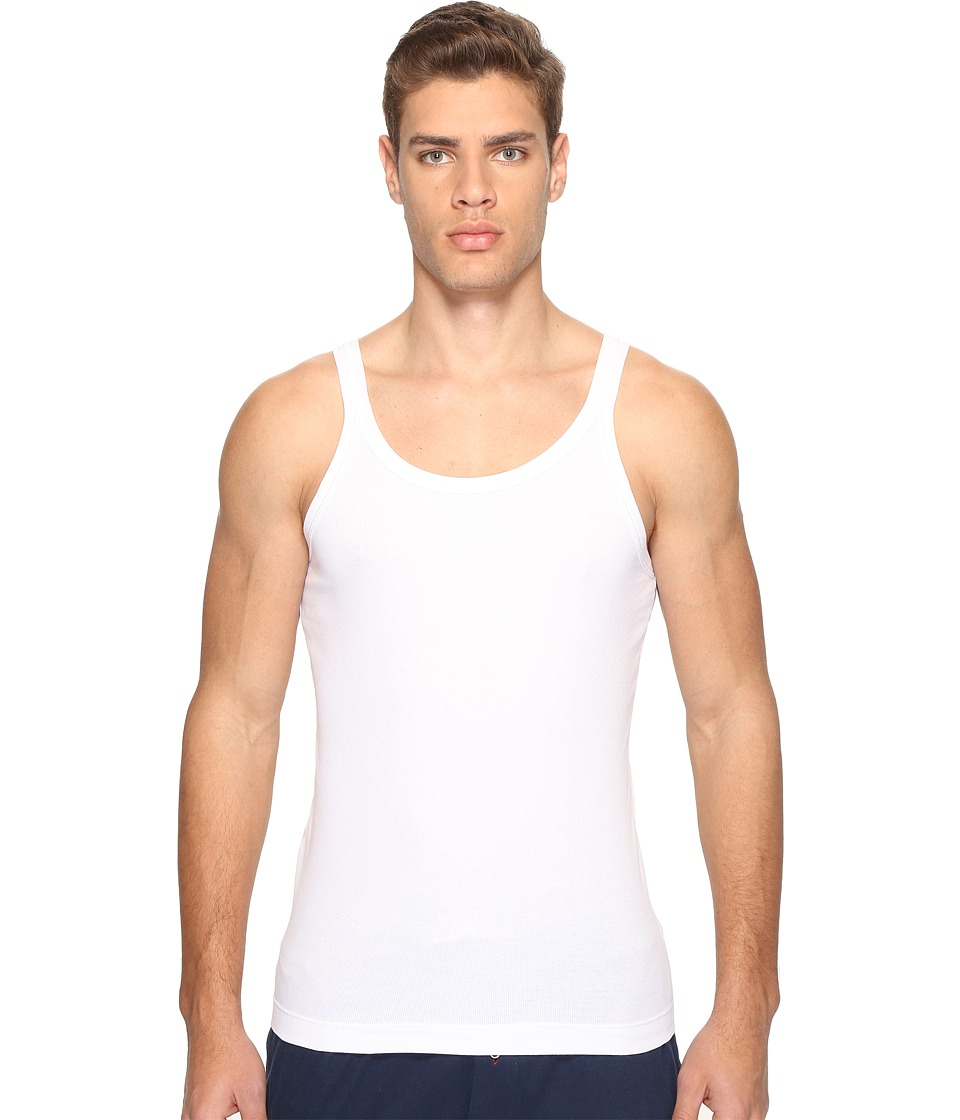 Dolce & Gabbana - Stretched Rib Cotton Marcello Tank Top (White) Men's Sleeveless