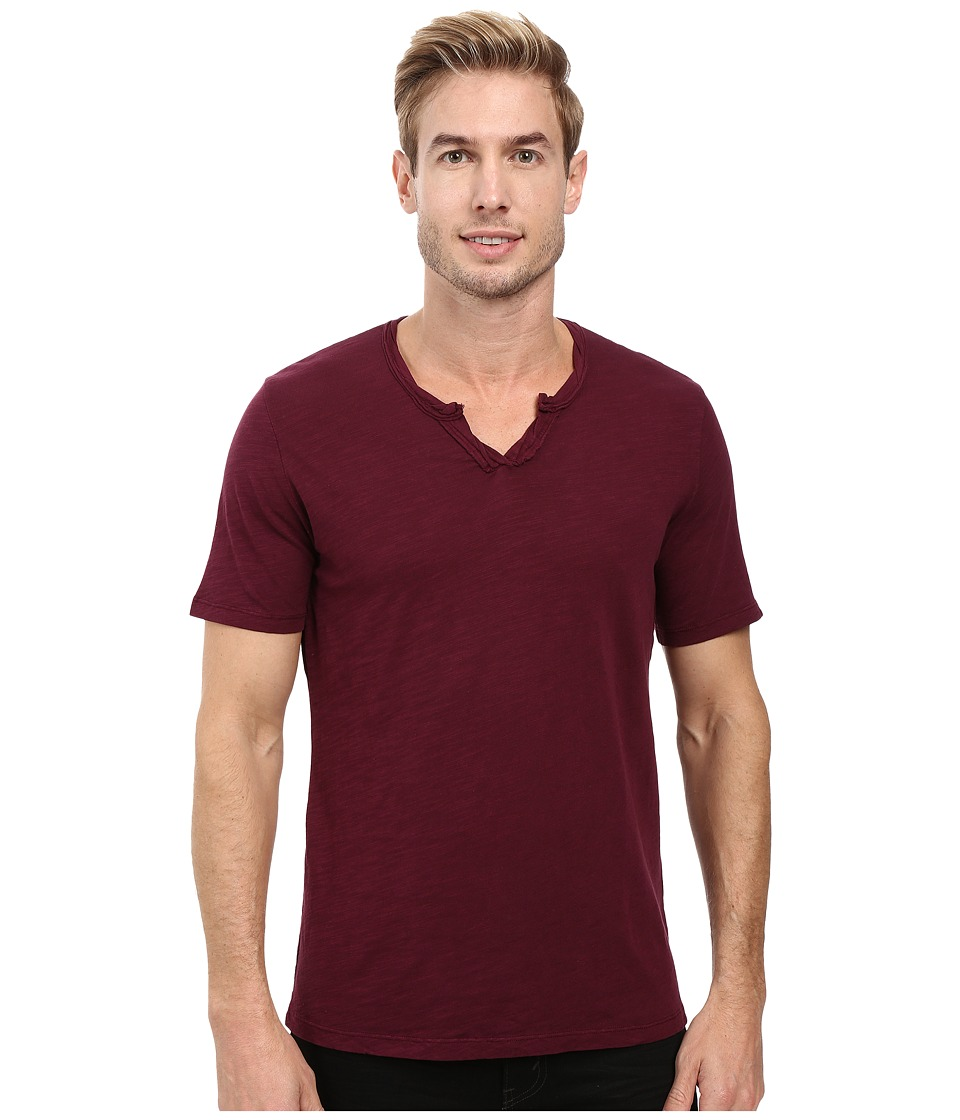 Mod-o-doc - Topanga Short Sleeve Notch V-Neck Tee (Wine) Men's T Shirt