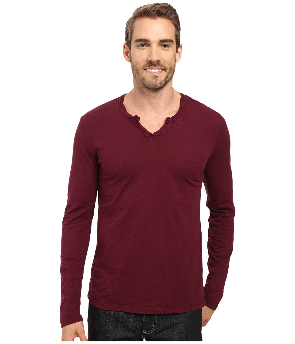Mod-o-doc - Les Carillo Long Sleeve Notch Slub Jersey V-Neck (Wine) Men's Clothing