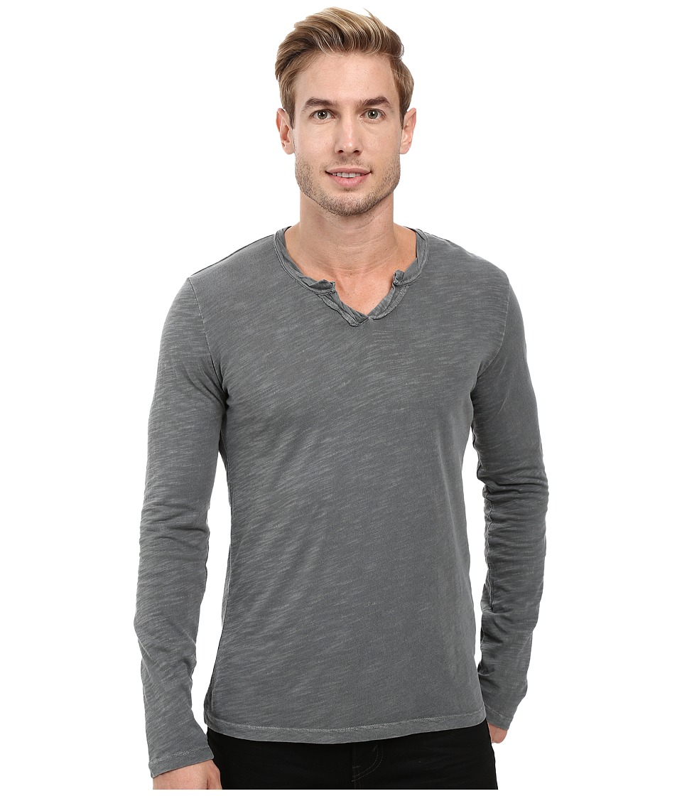 Mod-o-doc - Les Carillo Long Sleeve Notch Slub Jersey V-Neck (Stormy) Men's Clothing