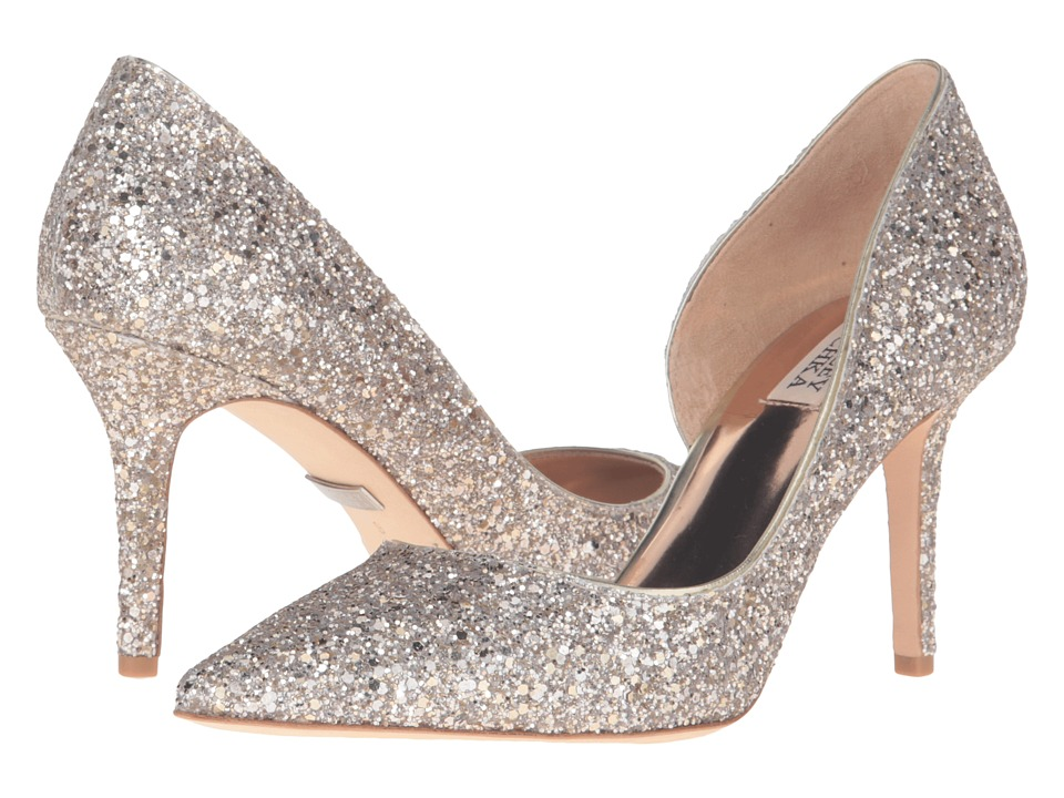 Badgley Mischka - Daisy (Platino Chunky Glitter Fabric) High Heels