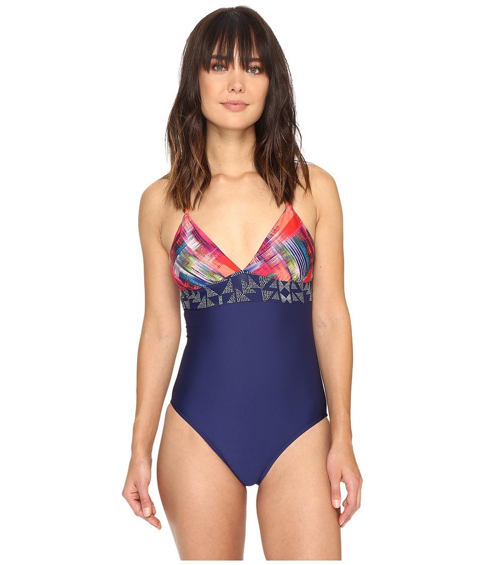 Splendid - Plaid Patch One-Piece (Multi) Women's Swimsuits One Piece