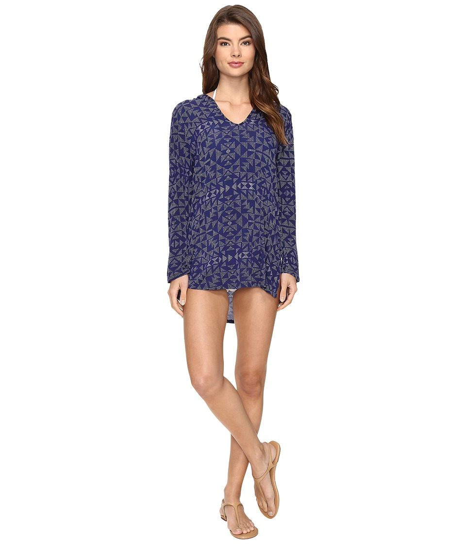 Splendid Deckhouse Geo Tunic Hoodie Cover-Up (Indigo) Women