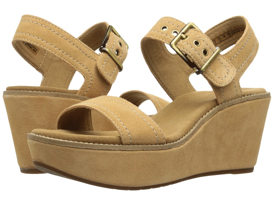 Clarks - Aisley Orchid (Light Tan Suede) Women's Sandals