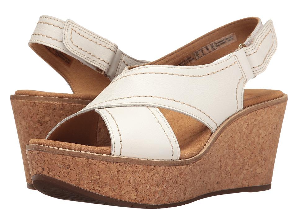 Clarks - Aisley Tulip (White Leather) Women's Sandals