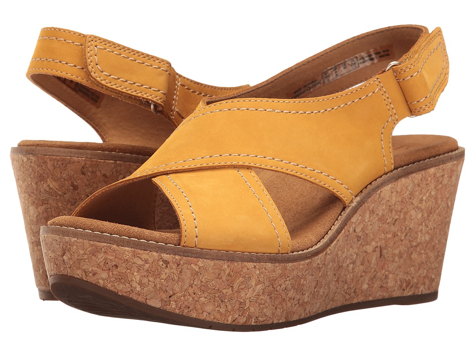 Clarks - Aisley Tulip (Yellow Nubuck) Women's Sandals