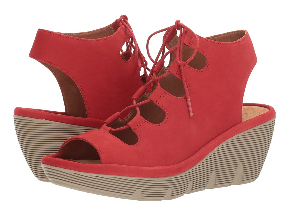 Clarks - Clarene Grace (Red Nubuck) Women's Sandals