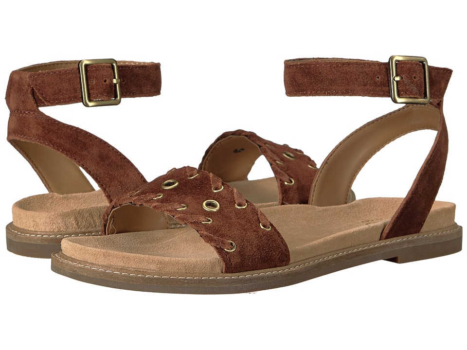 Clarks - Corsio Amelia (Dark Tan Suede) Women's Sandals