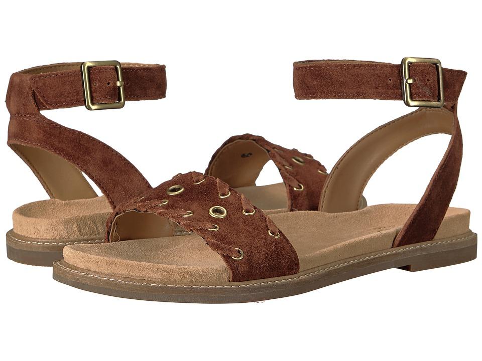Clarks - Corsio Amelia (Dark Tan Suede) Women's Sandals
