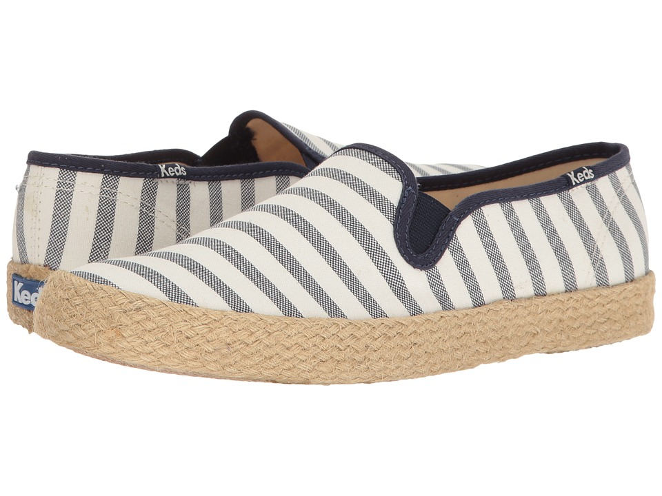 Keds - Champion Slip Breton Stripe Jute (Cream) Women's Slip on Shoes