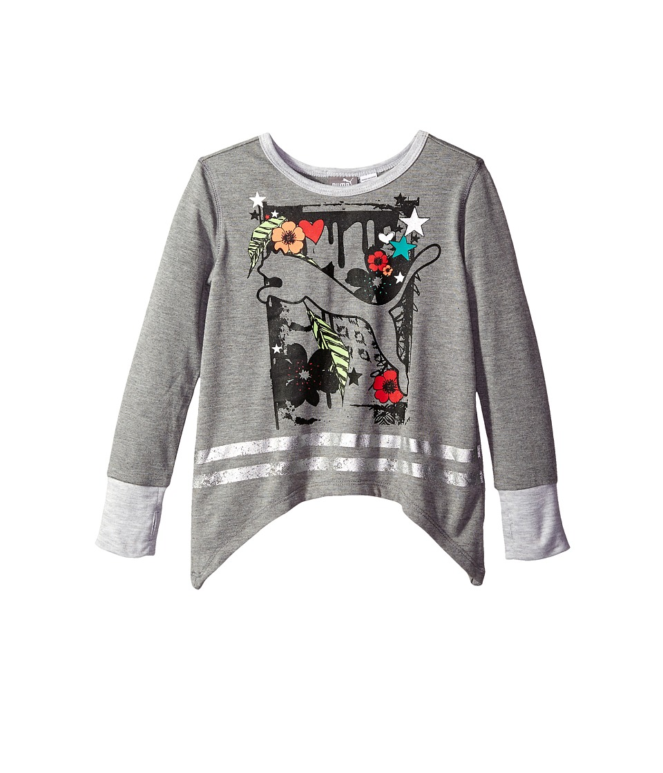 Puma Kids - Curved Hem Cat Top (Little Kids) (Medium Heather Grey) Girl's Clothing