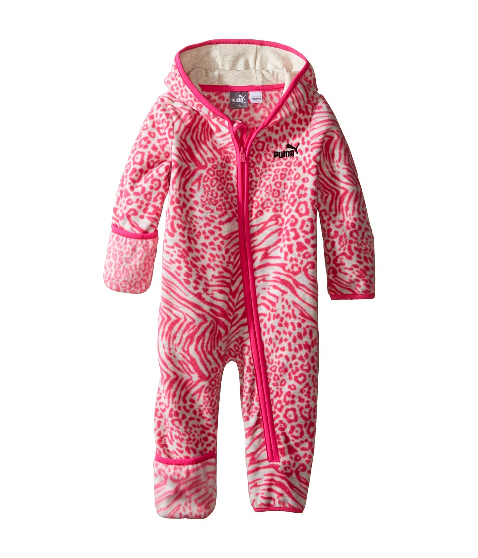 Puma Kids - PUMA Zip Front Pram (Infant) (Pink Glo) Girl's Jumpsuit & Rompers One Piece