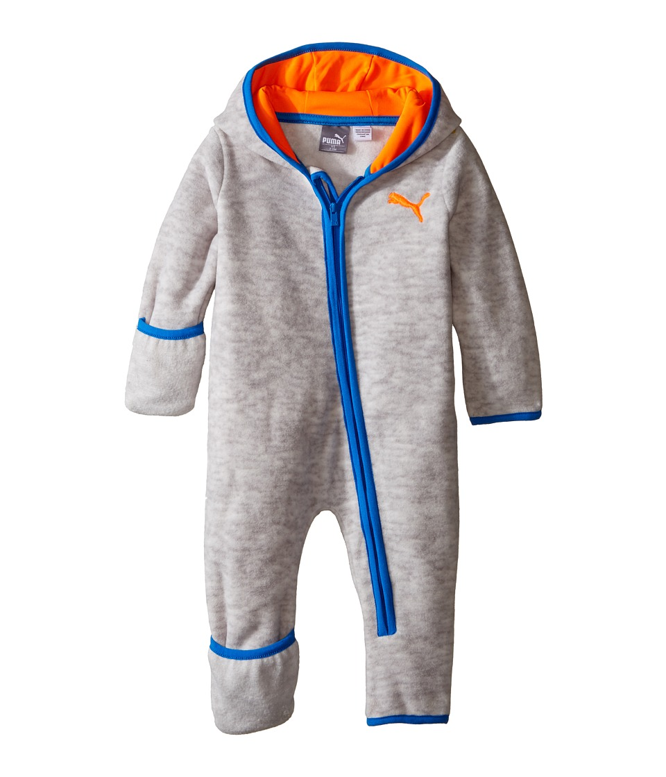 Puma Kids - PUMA Zip Front Pram (Infant) (Light Heather Grey) Boy's Jumpsuit & Rompers One Piece