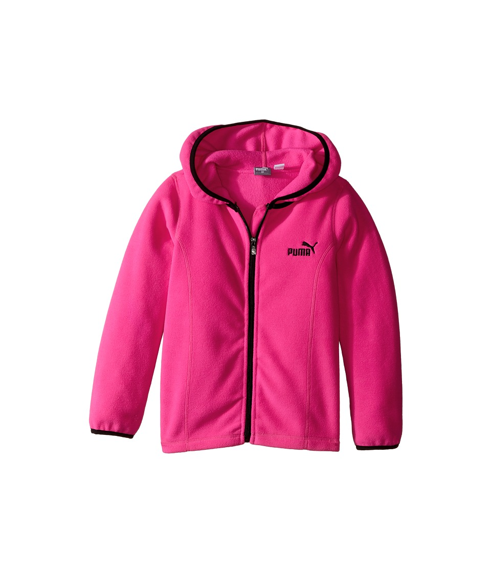 Puma Kids - Solid Polar Fleece Zip Front Hoodie (Little Kids) (Pink Glo) Girl's Sweatshirt