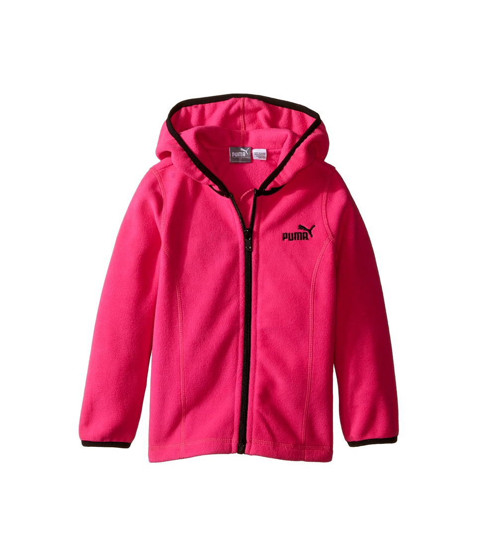 Puma Kids - Solid Polar Fleece Zip Front Hoodie (Toddler) (Pink Glo) Girl's Sweatshirt