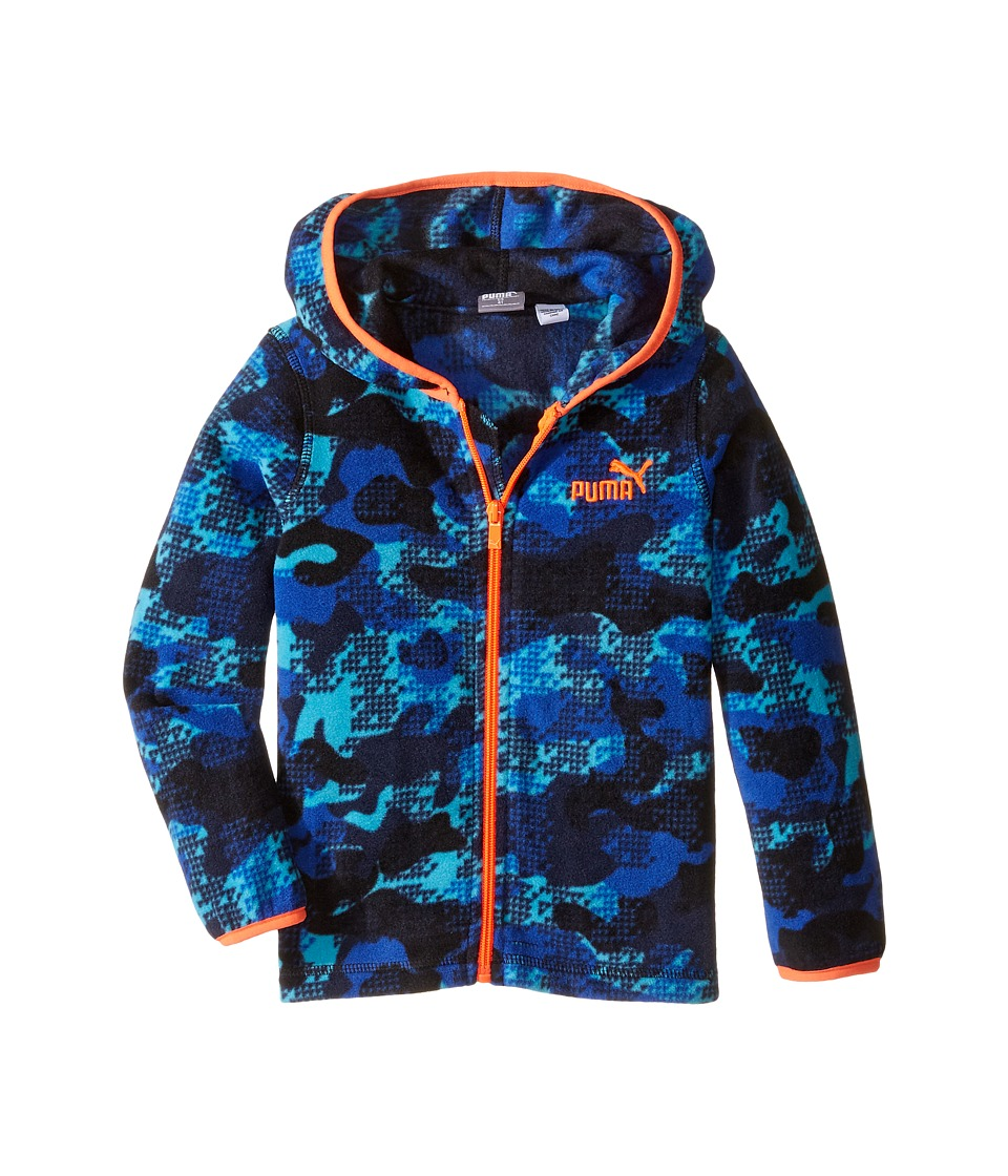 Puma Kids - Printed Polar Fleece Jacket (Toddler) (Deep Navy) Boy's Coat