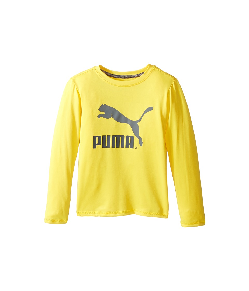 Puma Kids - No.1 Long Sleeve Logo Tee (Little Kids) (Cyber Yellow) Boy's T Shirt
