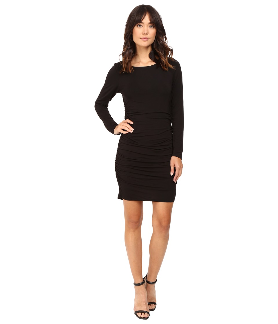 HEATHER - Long Sleeve Shirred Side Scoop Back Dress (Black) Women's Dress