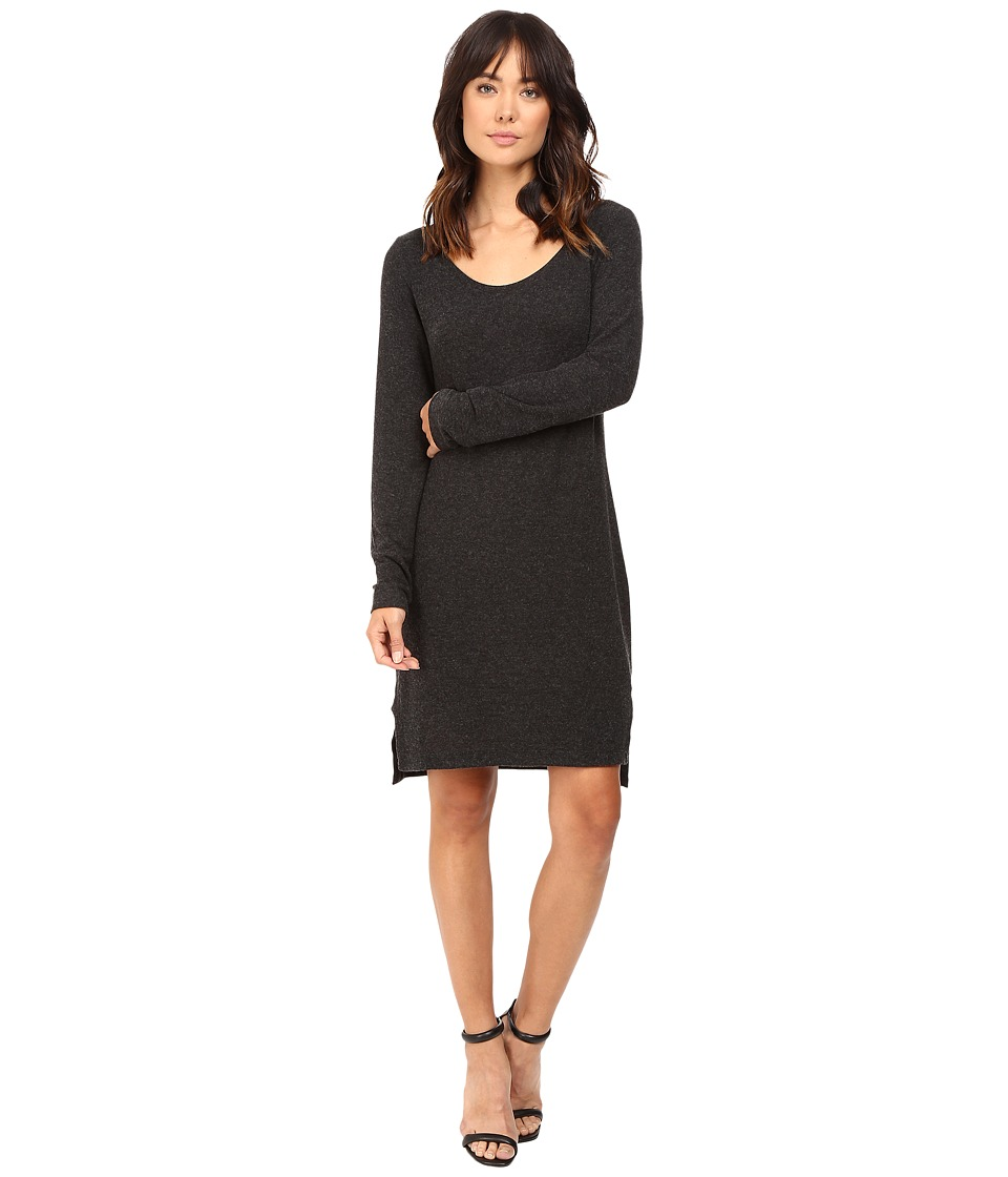 HEATHER - Brushed Hacci Long Sleeve Dress (Heather Charcoal) Women's Dress