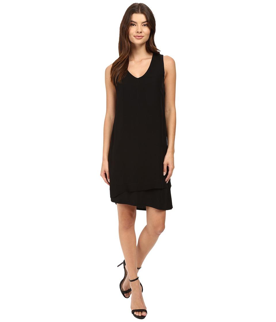 HEATHER - Silk Layered Asymmetrical Dress (Black) Women's Dress