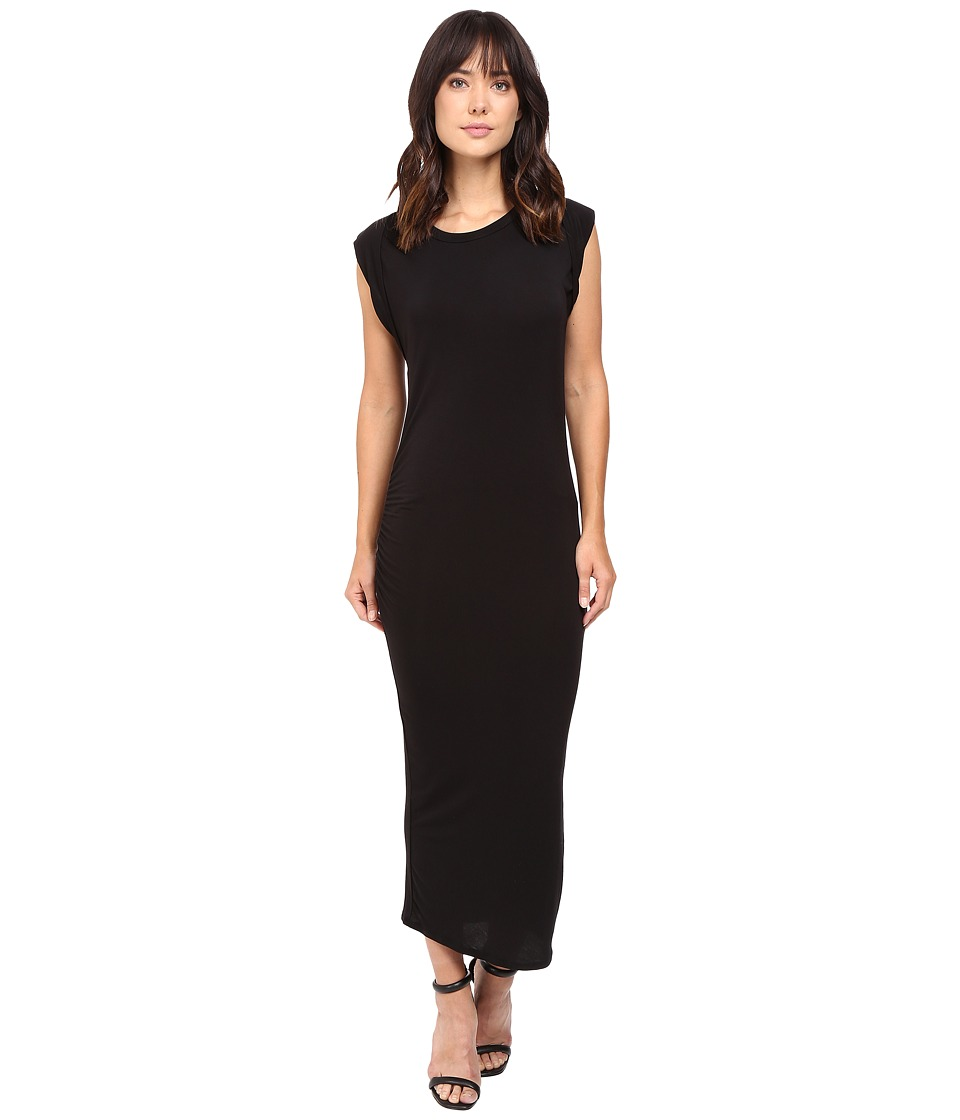 HEATHER - Roll Sleeve Midi Dress (Black) Women's Dress
